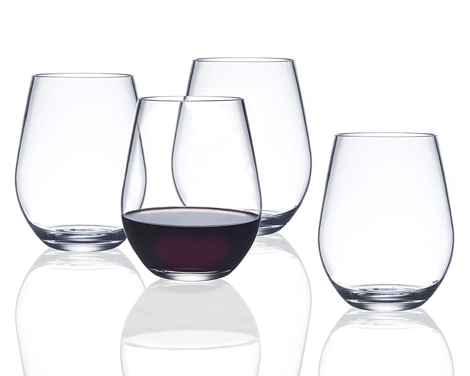 Drama Free Unbreakable Stemmed Wine Glass | FDCuvée 100% Tritan | Dishwasher safe - 22 oz | Set of 4 | Odorless | BPA Free | Not Glass Material | Indoor/Outdoor | Parties & Camping 01-002