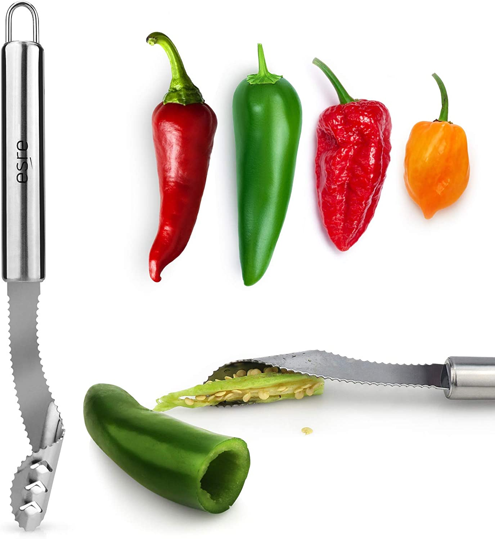 ESRE Stainless Steel Pepper Core Remover, Jalapeno Pepper Corer Tool Chili Deseeder, Sharp Edge Kitchen Gadget Seed Remover Dishwasher Safe, Slice off Vegetables tops for Barbecue