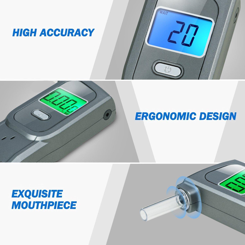 /grigio Etilometro alcol tester portatile Gdbow Breathalizer registrazione ultimi 32/risultati di prova con 5/bocchini/