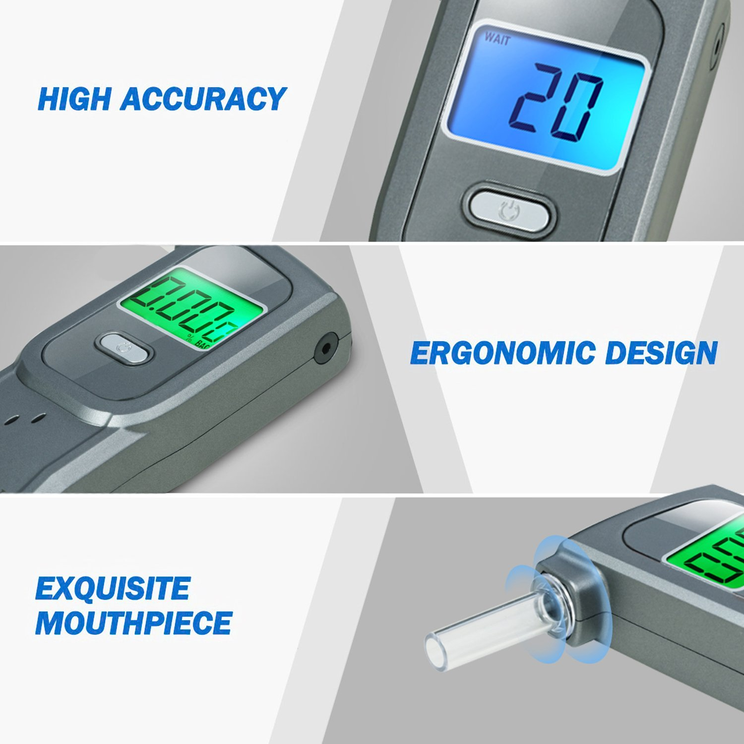 GDbow PortableBreathalyzer AlcoholTester Recording 32 Testing Results with 5 Mouthpieces for Personal Use -Grey by GDbow (Image #8)