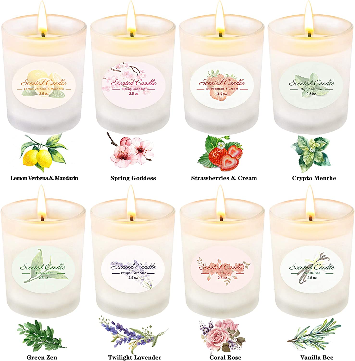 8x2.5Oz Scented Candles Gift Set,Aromatherapy Candle Gifts for Women Valentines Day Portable Glass Natural Premium Soy Wax Fragrance Essential Oils for Stress Relief Relaxation Birthday Gift