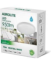 Aurolite LED 12W IP44, Ø 26cm, 950LM, bagno, cucina, corridoio, ufficio, corridoio, a filo, lampada da soffitto, alta qualità, 1anno di garanzia (4000K)