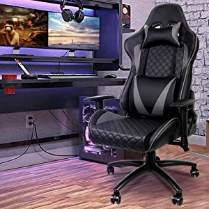 Gaming Chair, Ergonomic Computer Chair, Office Chair, 500 lb Weight Capacity, High Back PU Leather, Height, Back Angle, Armrest Adjustable with Headrest Lumbar Support, Shipping time 2-7 Days