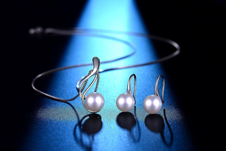925er/Sterlingsilber Schmuck-Set aus S/ü/ßwasserperlen-Ohrringen und -Halskette Geschenk f/ür Frauen Muttertagsgeschenk