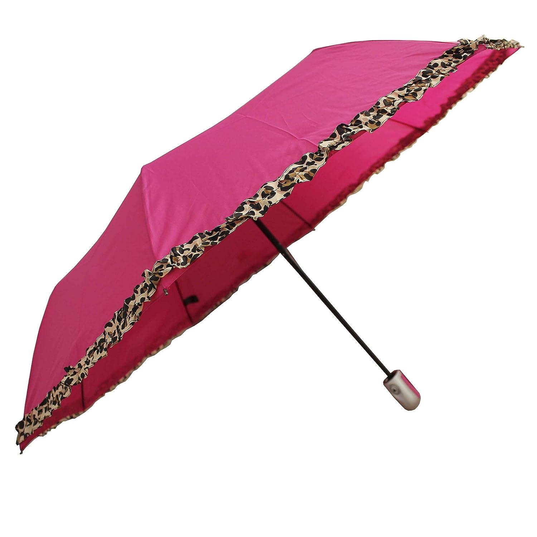 FERETI Paraguas Mujer Rosa Leopardo Plegable Pequeño Automatico: Amazon.es: Equipaje