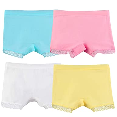 0a581bfd7b377b Auranso Girls Knickers 4 Pack Baby Girl Lace Trim Cotton Underwear Toddler  Boyshort Pants for 4
