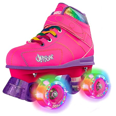 Crazy Skates Dream Roller Skates for Girls and Boys LED Light-up Wheels Available in Pink or Black