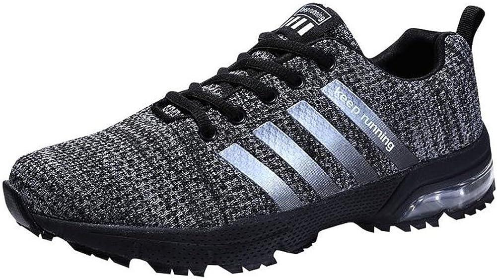 Hombre Zapatillas de Correr Casual para Deportivas de Malla Zapatillas Antideslizantes Zapatillas Ligeras Negro 43