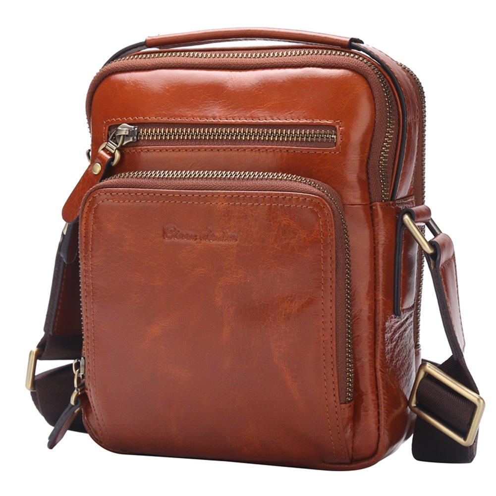 BISON DENIM Mens Genuine leather Messenger Casual Cowhide Shoulder Bag N2333-1B