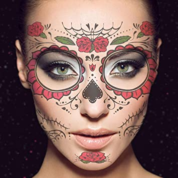 178bd739f474d Frcolor Temporary Face Tattoo, Floral Day of the Dead Sugar Skull Temporary Face  Tattoo Kit