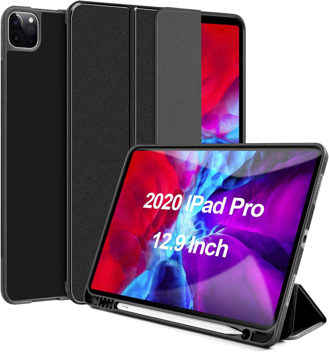 Lapogy Case for New iPad Pro 12.9 inch Case 2020(4th Generation) with Pencil Holder,Auto Wake/Sleep Trifold Stand&Lightweight Soft Magnetic Protective TPU Back Thin Cover for 12.9 inch - Black