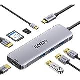 USB C Hub, UOEOS 8-in-1 USB C to Dual HDMI Adapter,USB C Dock Docking Station Dual monitor Thunderbolt 3 Hub, Power…