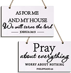 Youyole 2 Pieces Farmhouse Style Bible Verse Wall Decor Wood Sign As for Me and My House We Will Serve The Lord Wood Rustic Wall Sign Plaque Farmhouse Home Christian Bible Verse Sign, 9.5 x 5.5 Inch