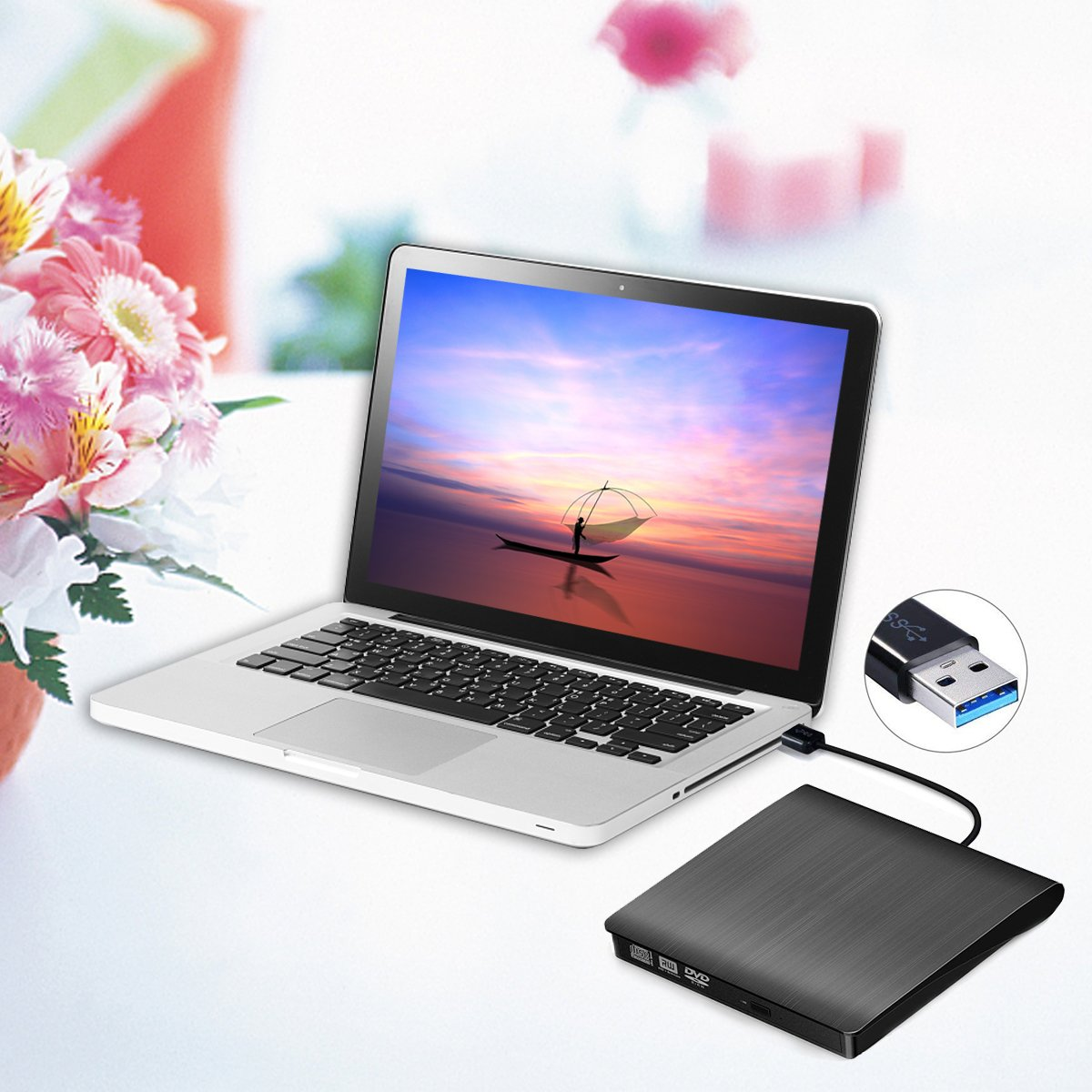 External DVD Drive, SUMBOAT USB 3.0 Portable Slim DVD CD Rom Burner Rewriter Driver,High Speed Data Transfer for Laptop Mac 10 OS Windows XP /2003/Vista/Win 7/ Win 8/Win 10 Linux by SUMBOAT (Image #7)