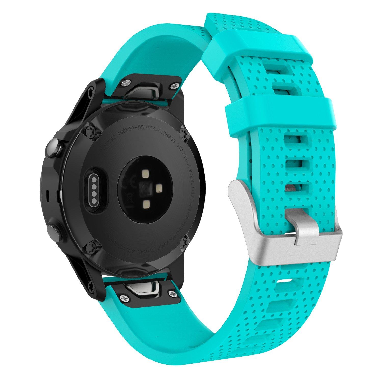 MoKo Garmin Fenix 5S Watch Band, Soft Silicone Replacement Watch Band Strap for Garmin Fenix 5S Plus, 5S Multisport 42mm GPS Smart Watch, Fit 5.31''-8.46'', (NOT FIT Fenix 5 5X), Gem Green