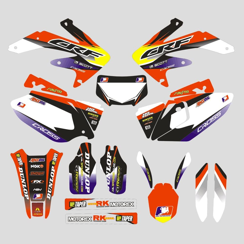 JFG RACING Customize Motorcycle Complete Adhesive Decals Stickers Graphics Kit For 2003-2008 Kawasaki KX125 KX250