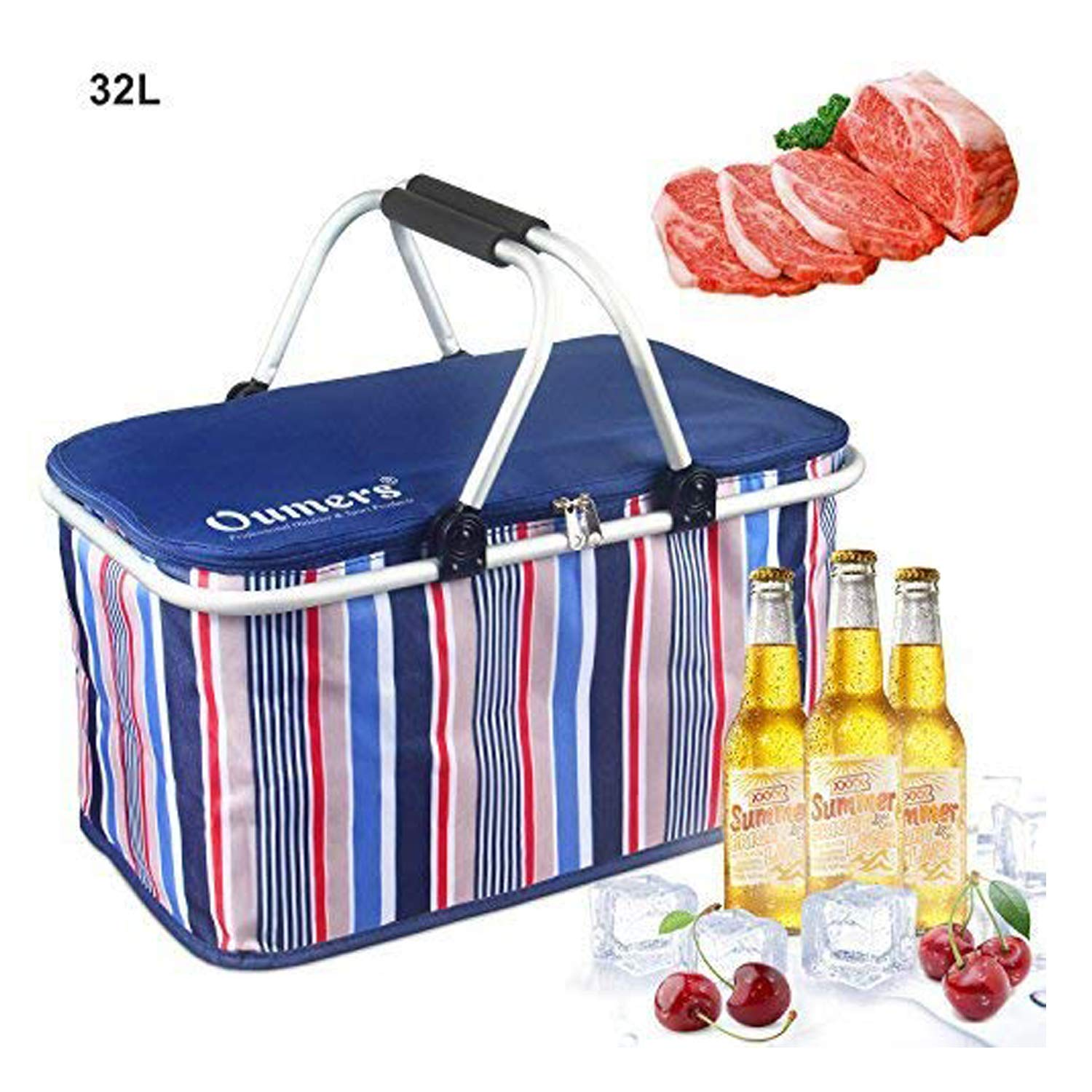 Picnic Insulated Bag, Oumers 32L Large Size Insulated Picnic Basket - BBQ Meat Drinks Cooler Bag -Folding Collapsible Cooler Basket for Family Vacations Parties Outdoor Travel, Keep Food Cold Storage by Oumers