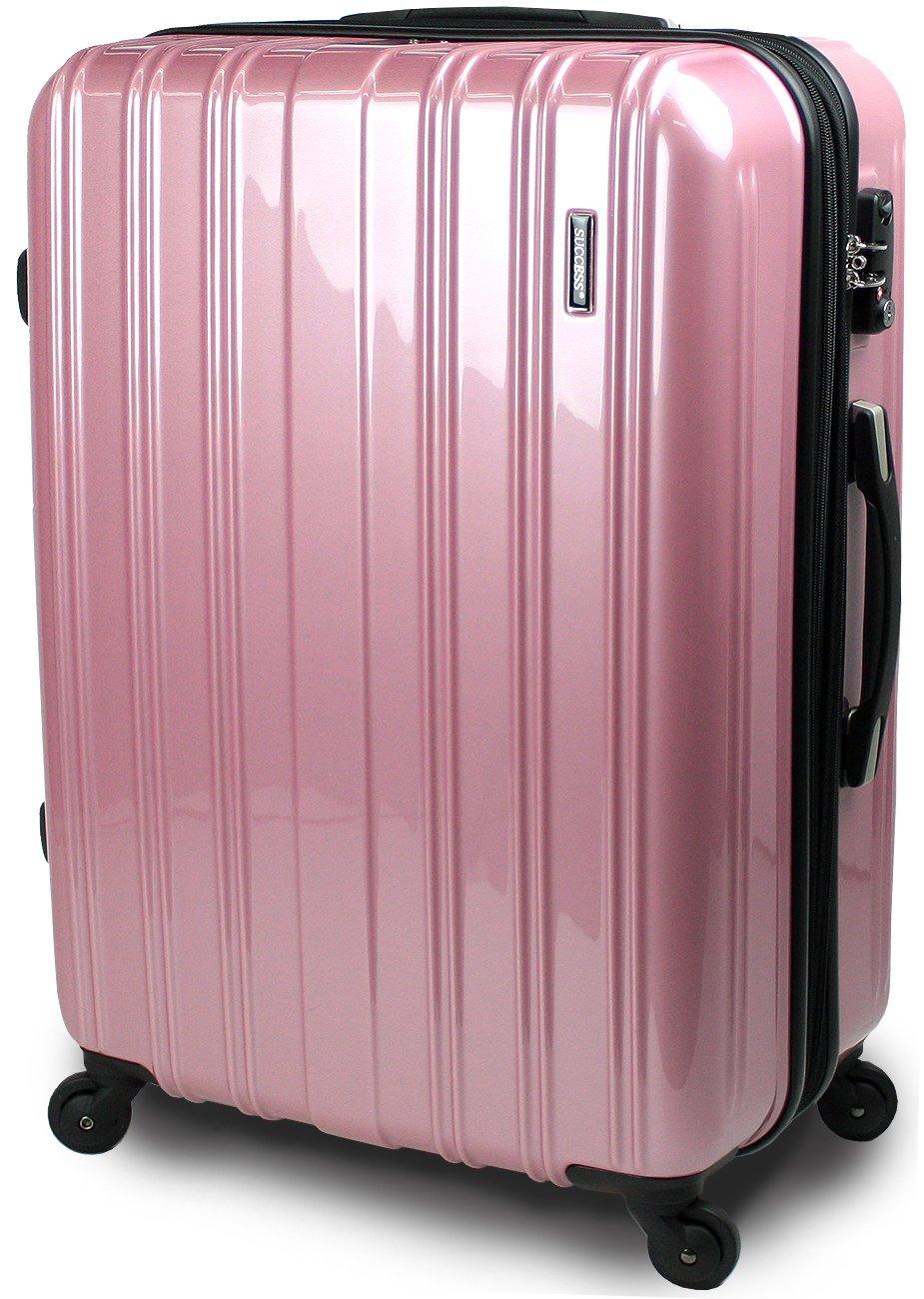 【SUCCESS サクセス】 スーツケース 3サイズ( 大型  ジャスト型  中型 ) TSAロック 搭載 超軽量 レグノライト2020~ ミラー加工 キャリーバッグ B00BEG5B7G 中型 66㎝|スイートピンク スイートピンク 中型 66㎝