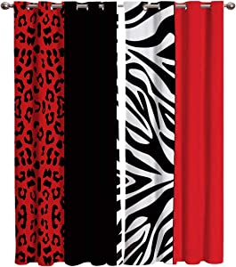 Red Blackout Curtain Window Drapes Thermal Insulated Curtains 2 Panels, Room Darkening for Living Room Bedroom Window Treatments Leopard and Zebra Animal Print 27.5x39 inch