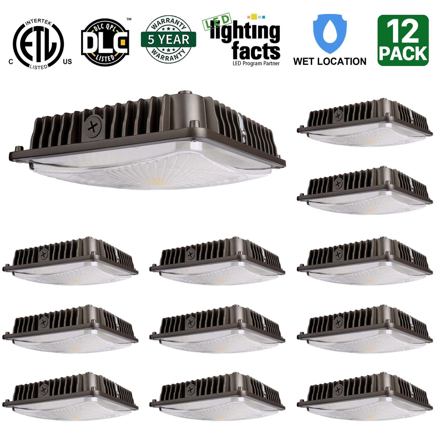 12 Pack Hykolity 70W LED Canopy Light Commerical Grade Weatherproof Outdoor High Bay Balcony Carport Driveway Ceiling Light [350W HID/HPS Equivalent] 6000lm 5000K DLC Qualified