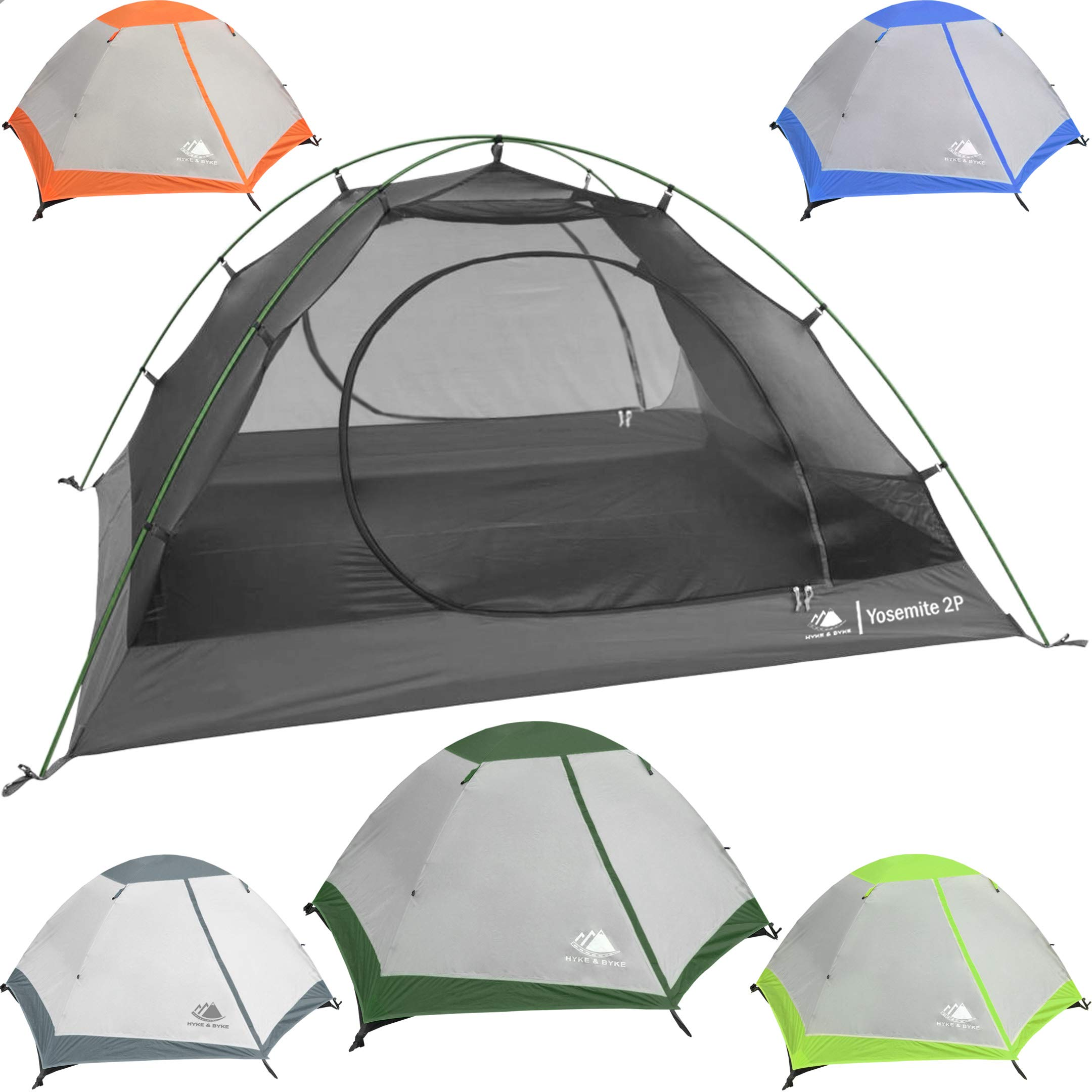 2 Person Backpacking Tent with Footprint - Lightweight Yosemite Two Man 3 Season Ultralight, Waterproof, Ultra Compact 2p Freestanding Backpack Tents for Camping and Hiking, Hyke & Byke (Forest Green) by Hyke & Byke