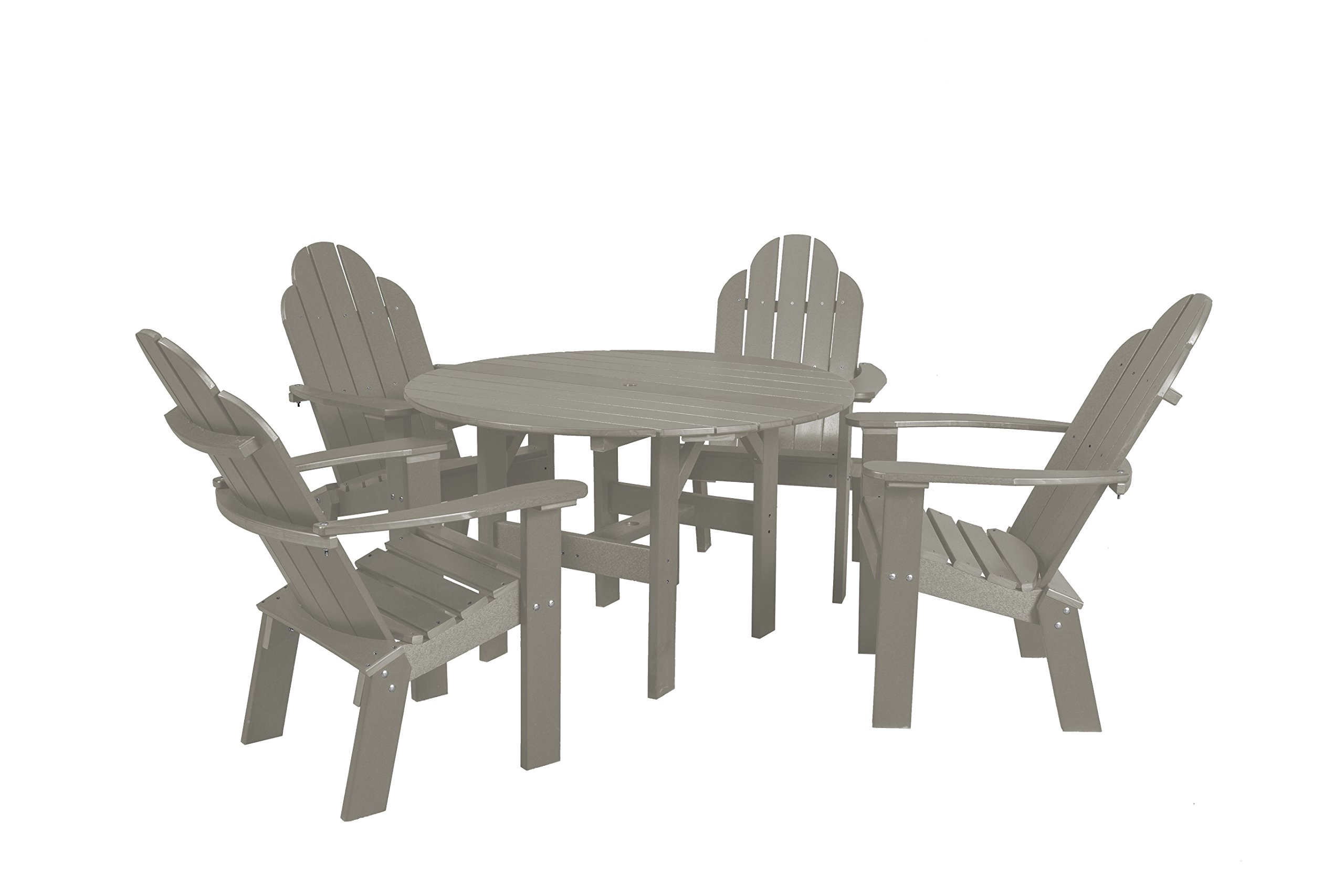 Little Cottage Company Lcc-280 Classic Round Table with 4 Deck Chairs, 46'', Light Gray