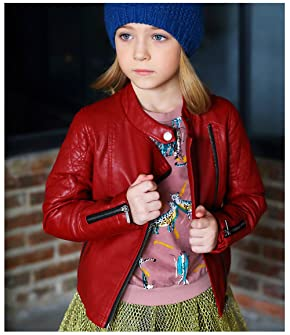 f55b293496fd ... LJYH Girls Faux Leather Quilted Shoulder Motorcycle Jacket