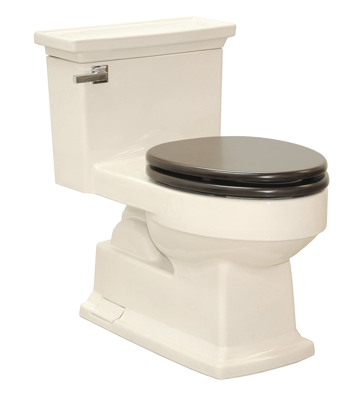 Lloyd One-Piece Toilet 1.28 GPF Bone with SoftClose Maple seat ...