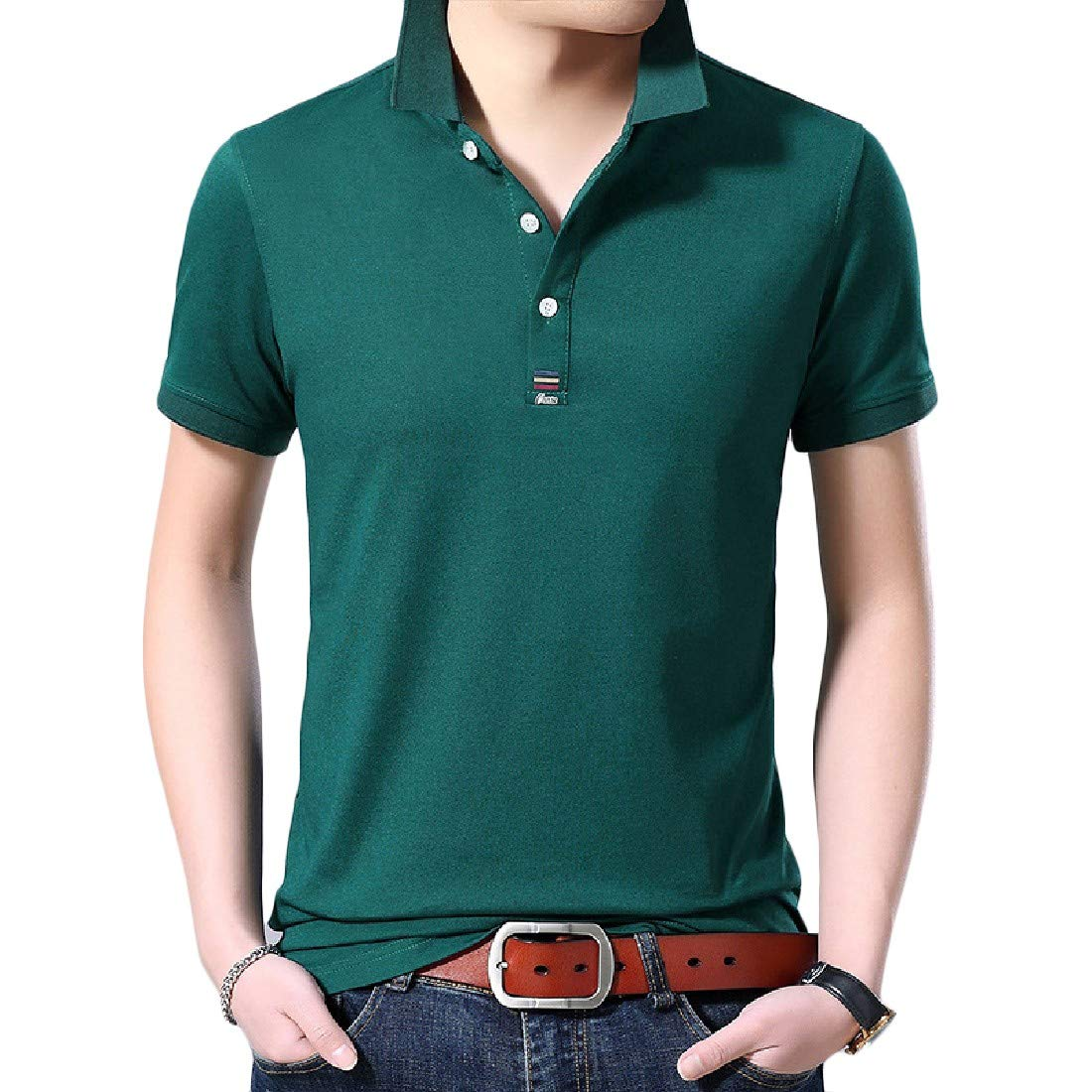 Wofupowga Men Short Sleeve Tee Solid Color Top Polos Shirt Athletic T-Shirt