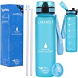 LAKIBOLE 32 oz Straw Water Bottle BPA Free with Time Marker, Gym Water Bottle with Straw for Fitness, Outdoor Enthusiasts, Le