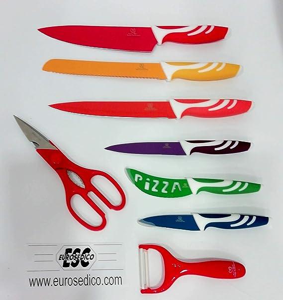 EUROSEDICO Cuchillos ceramicos de 8 piezas , son 6 cuchillos, 1 afilador y 1 Royalty Line RRL-COL 7S