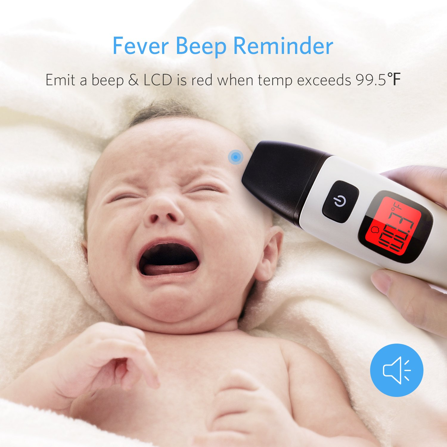 HOMIEE Black Thermometer, Ear Thermometer for Kids, Non Contact Infrared Digital Forehead Thermometer with Fever Alert and Three Color Backlit for Baby and Adults, FDA and CE Certifications Approved by HOMIEE (Image #5)