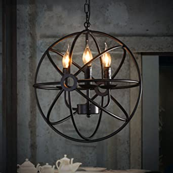 perfectshow 4 lights vintage edison metal shade round hanging ceiling chandelier retro iron rustic spherical - Hanging Ceiling Lights For Kitchen