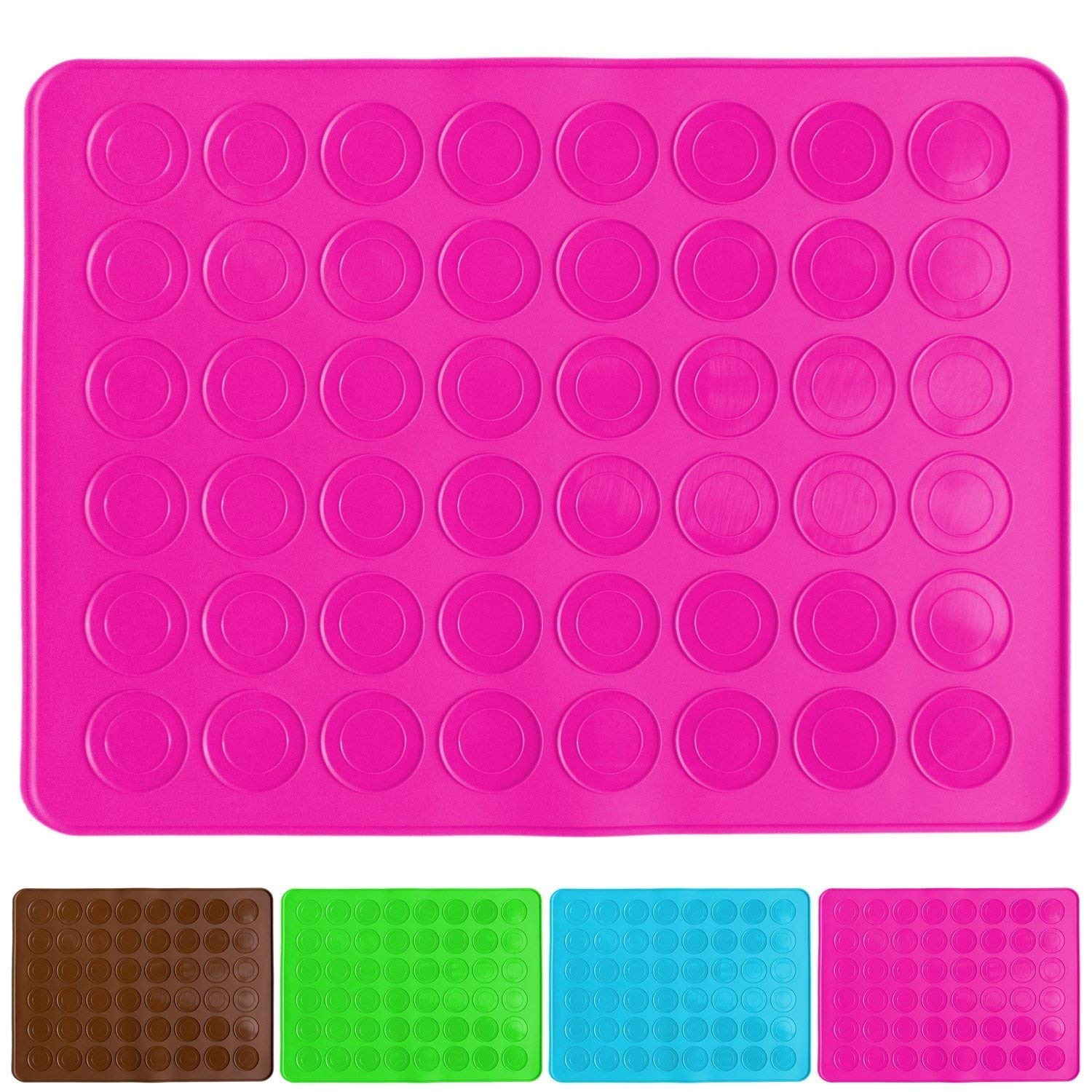 Belmalia macaron silicone baking mat for 24 perfect macarons, 48 moulds, non-stick coated, 38x28cm Pink
