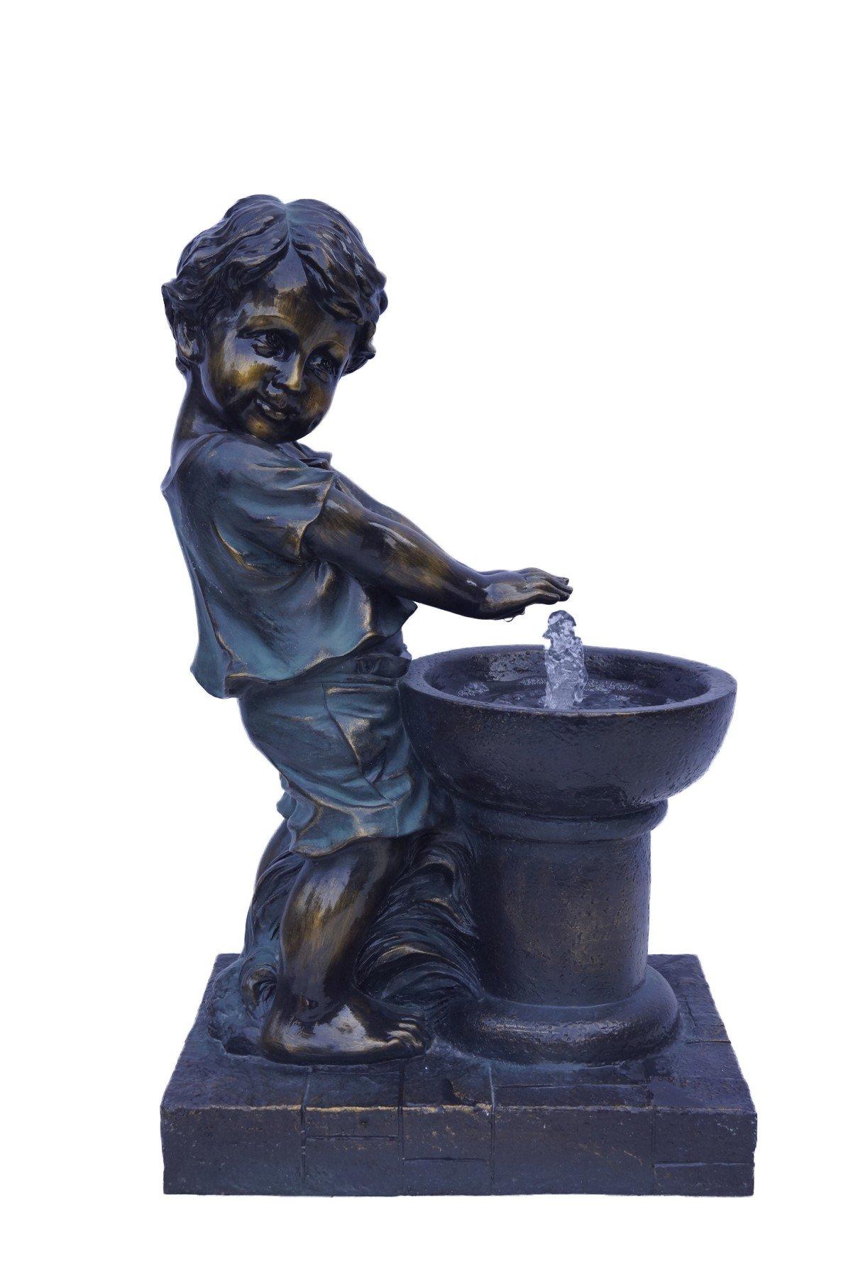 Hi-Line Gift Ltd Boy Playing Fountain, Bronze Finish