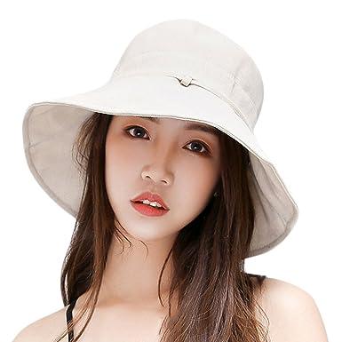d1fea818 Jolisson Bucket Sun Hats Lovely Summer Ladies Beach Cap Floppy Packable Wide  Brim Beige One Size: Amazon.co.uk: Clothing