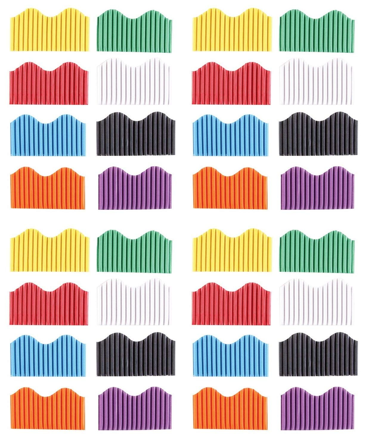 Pack of 8 Assorted Colors School Smart Corrugated Border Trim 2-1//4 Inch x 50 Feet