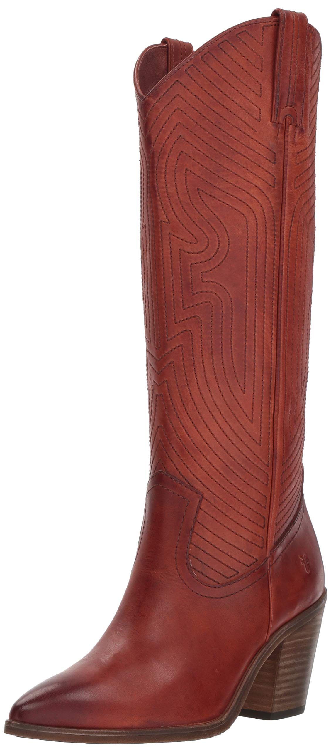 FRYE Women's Faye Stitch Pull On Western Boot, red Clay, 10 M US by FRYE
