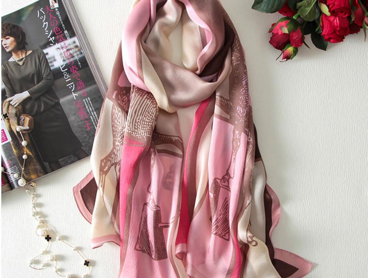 GAO Silk silk scarves Print embroidery Embroidery shawls dual use Summer scarf wild long Beach towel (length  180  60cm, Packing of 1) (color   H)