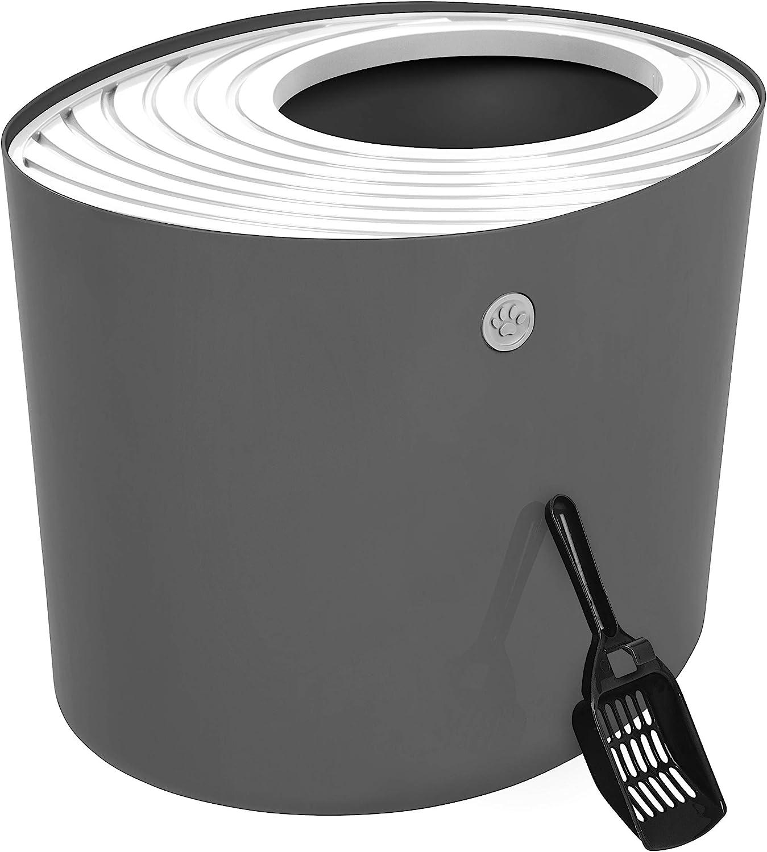 IRIS USA Top Entry Cat Litter Box with Cat Litter Scoop, Dark Gray & White, Dark Gray/White, Large Punt-530: Pet Supplies