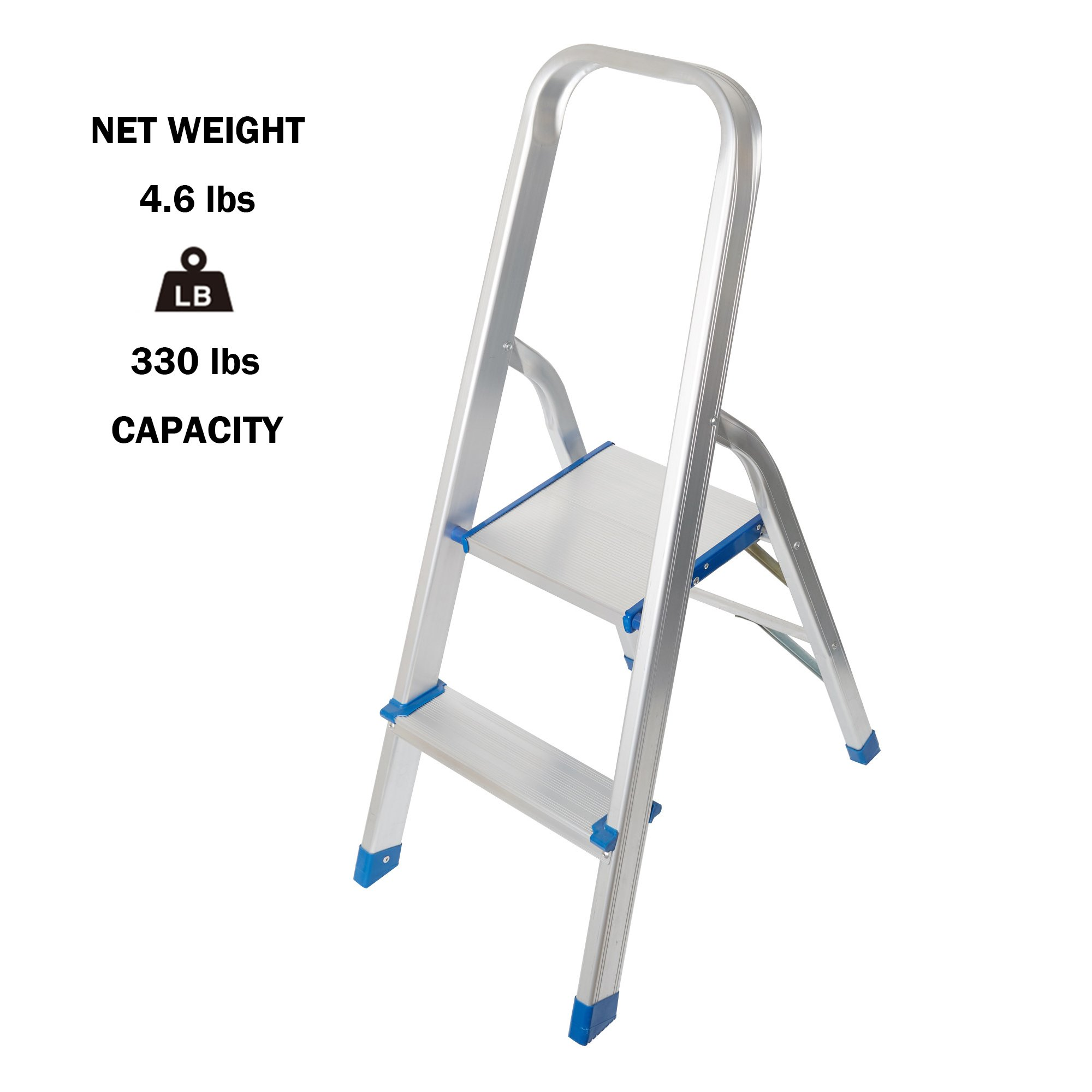 Lucky Tree Portable 2 Step Ladder Anti-slip Folding Stepladders Lightweight Aluminum Step Stool for home kitchen, 330lbs Capacity