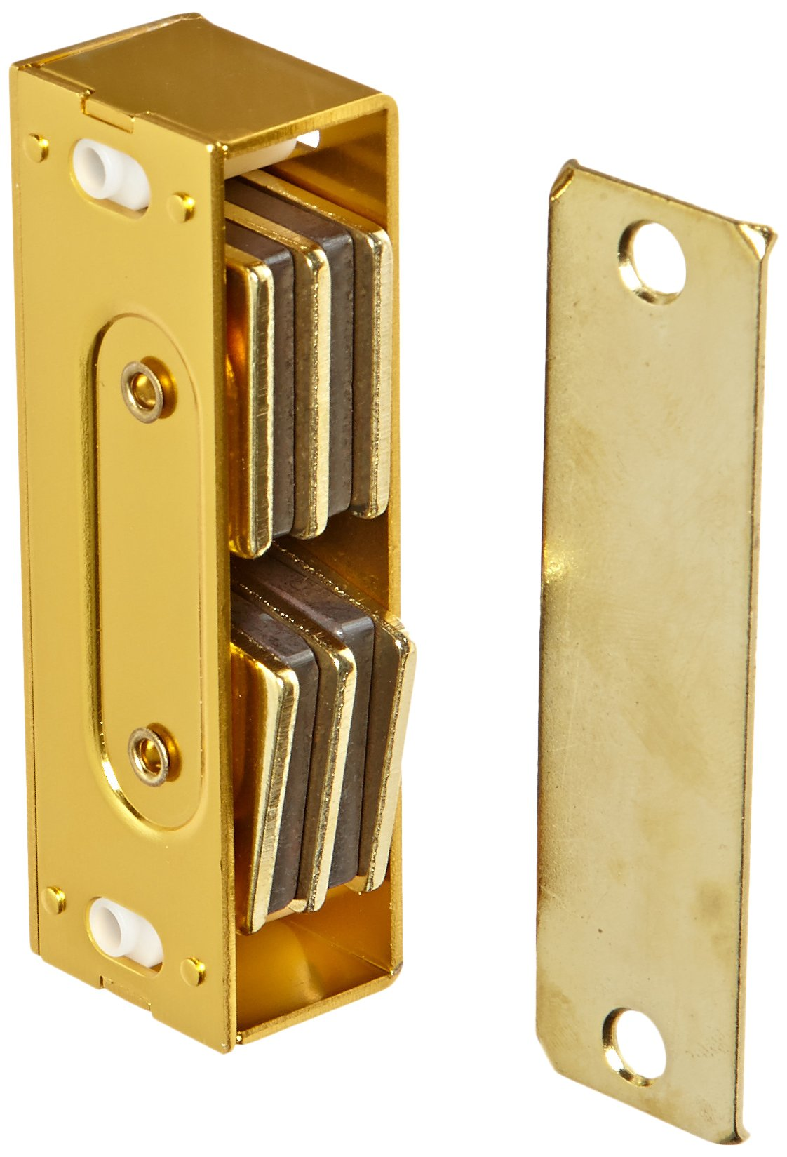 Rockwood 901.BRS Aluminum Extra Heavy Duty Magnetic Catch, 13/16'' Width x 3-1/3'' Height x 1'' Thickness, Brass Finish