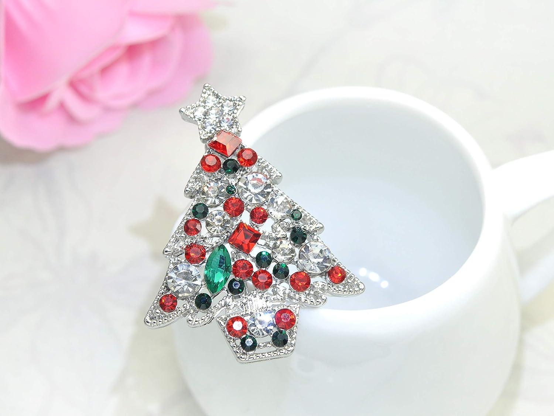 Gyn/&Joy Christmas Brooch Crystal Winter Holiday Christmas Tree Holiday Pin Xmas Gift