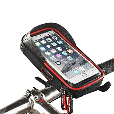 MOOZO Bike Handlebar Bag, Universal Waterproof Cell Phone Pouch Bicycle & Motorcycle Handlebar Phone Mount Holder Cradle with 360 Rotate for iPhone Samsung HTC LG Smartphones up to 6\'\' (Black & Red)