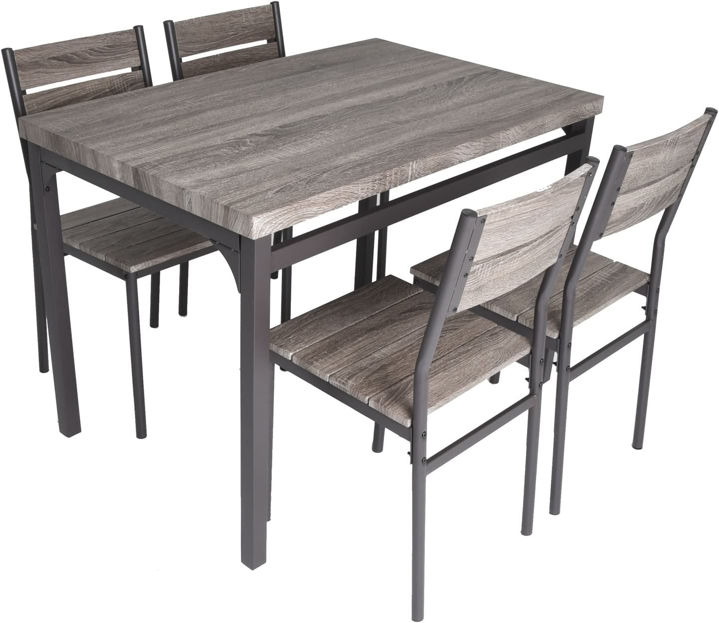 Zenvida - Juego de Mesa de Comedor de Madera rústica, Color Gris y 4 sillas: Amazon.es: Juguetes y juegos
