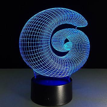 RFJJ Iluminación Nocturna en 3D Iluminación Visual 7 Cambio de Color Teclado táctil USB y Smart Remote Desk Lamp Nice Gift Home Decor: Amazon.es: Hogar