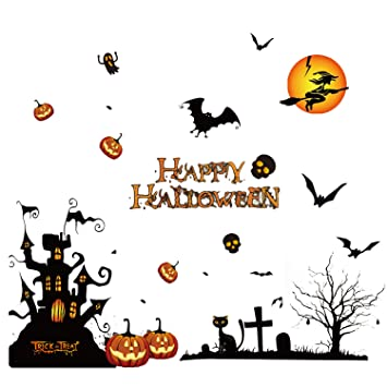 Happy halloween wall decal stickers decoration peel and stick window art decals stickers halloween decor supplies for shop bar home kitchen party 50 x 70cm