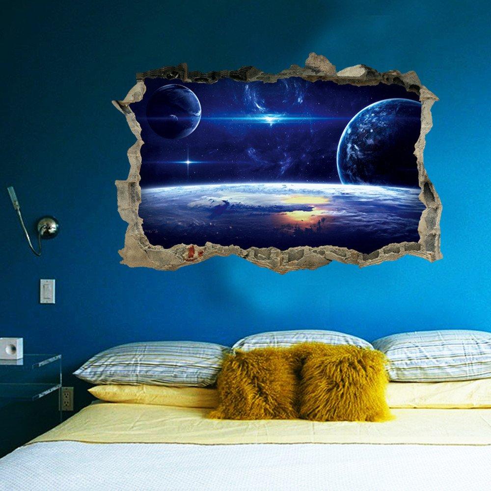 Vovotrade 3D é toiles Sé rie é tage Wall Sticker Muraux Dé coratifs Vinyl Art Room Decor Voie Lacté e Univers Cadeau (A) Vovotrade®