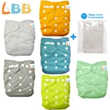 LBB Baby Double Rows of Snaps 6pcs Pack Fitted Pocket Washable Adjustable Cloth Diaper(Netural Color)6BM98