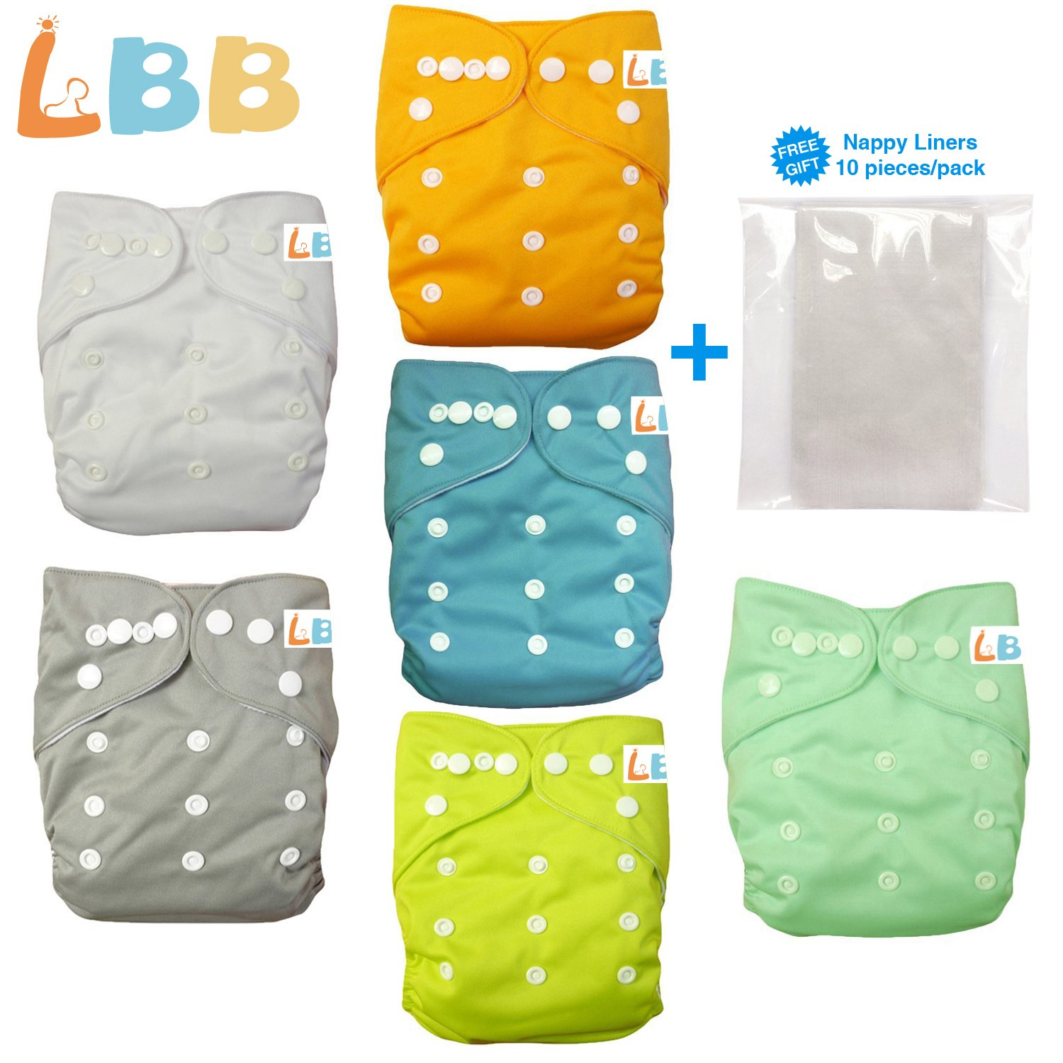 Baby Double Rows of Snaps 6pcs Pack Fitted Pocket Washable Adjustable Cloth Diaper(Netural Color)6BM98, AMGrey, One Size by LBB